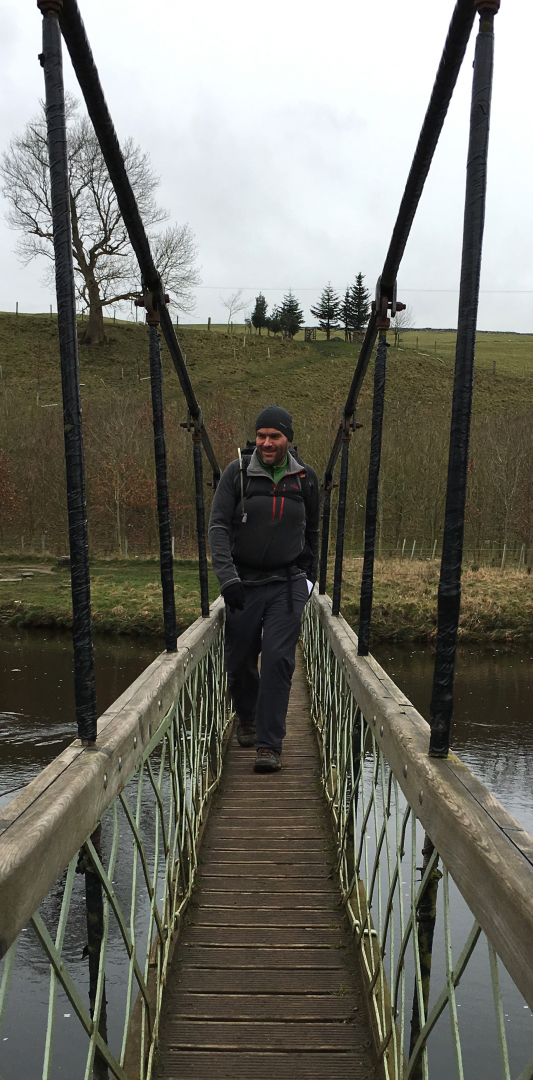 Three Dales Way: Wharfe suspension bridge