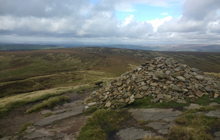 A stony cairn on the Pennine Way
