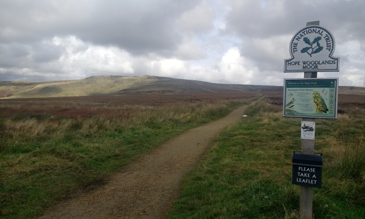 A sign for Hope Woodlands Moor on the Pennine Way.