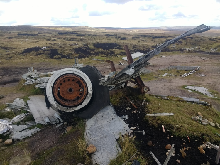 The surviving wheel of the crashed plane.