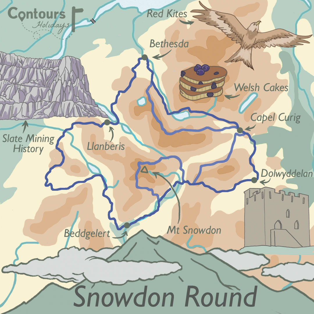 An illustrated map of our Snowdon Round walking holiday, with old mining ruins, welsh cakes, red kites and Mt Snowdon