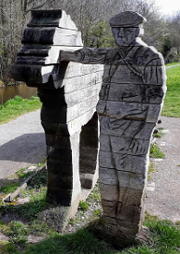 Usk Valley Walk: Canalside statues