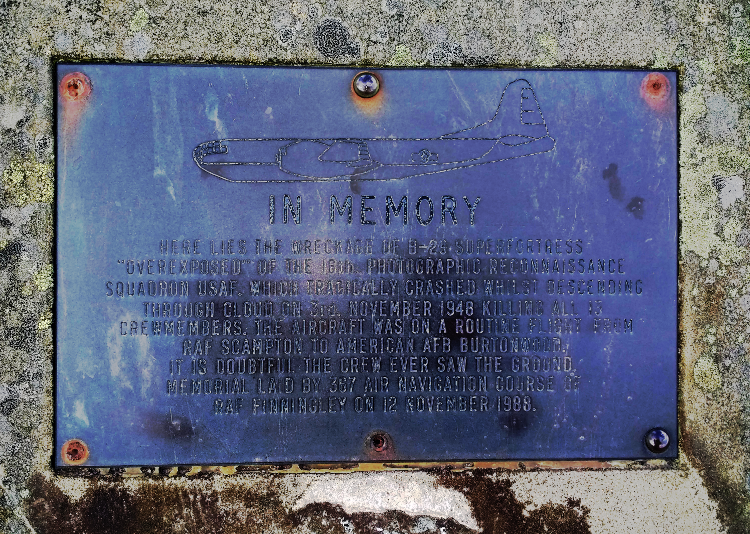 Memorial Plaque dedicated to B-29 Superfortress Overexposed.