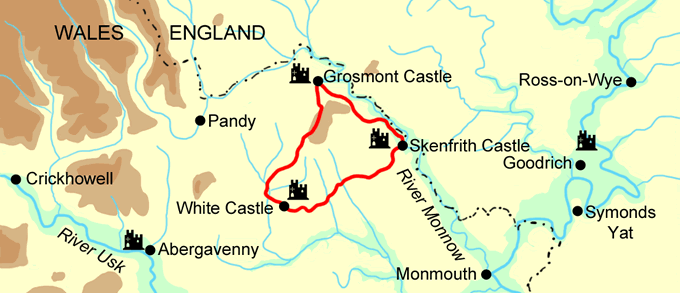 Three Castles Walk map