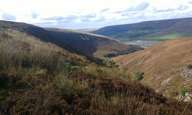 Views over desolate landscapes toward Torside Reservoir.
