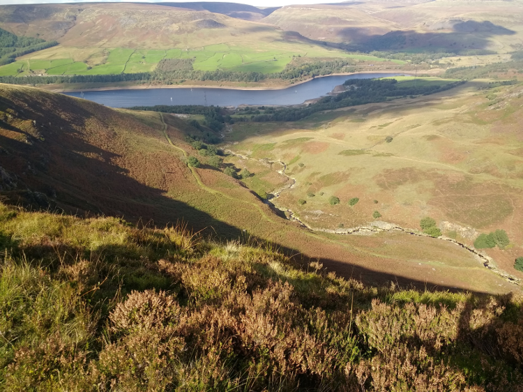 Views down over Woodhead Pass where it crosses Torside Reservoir.