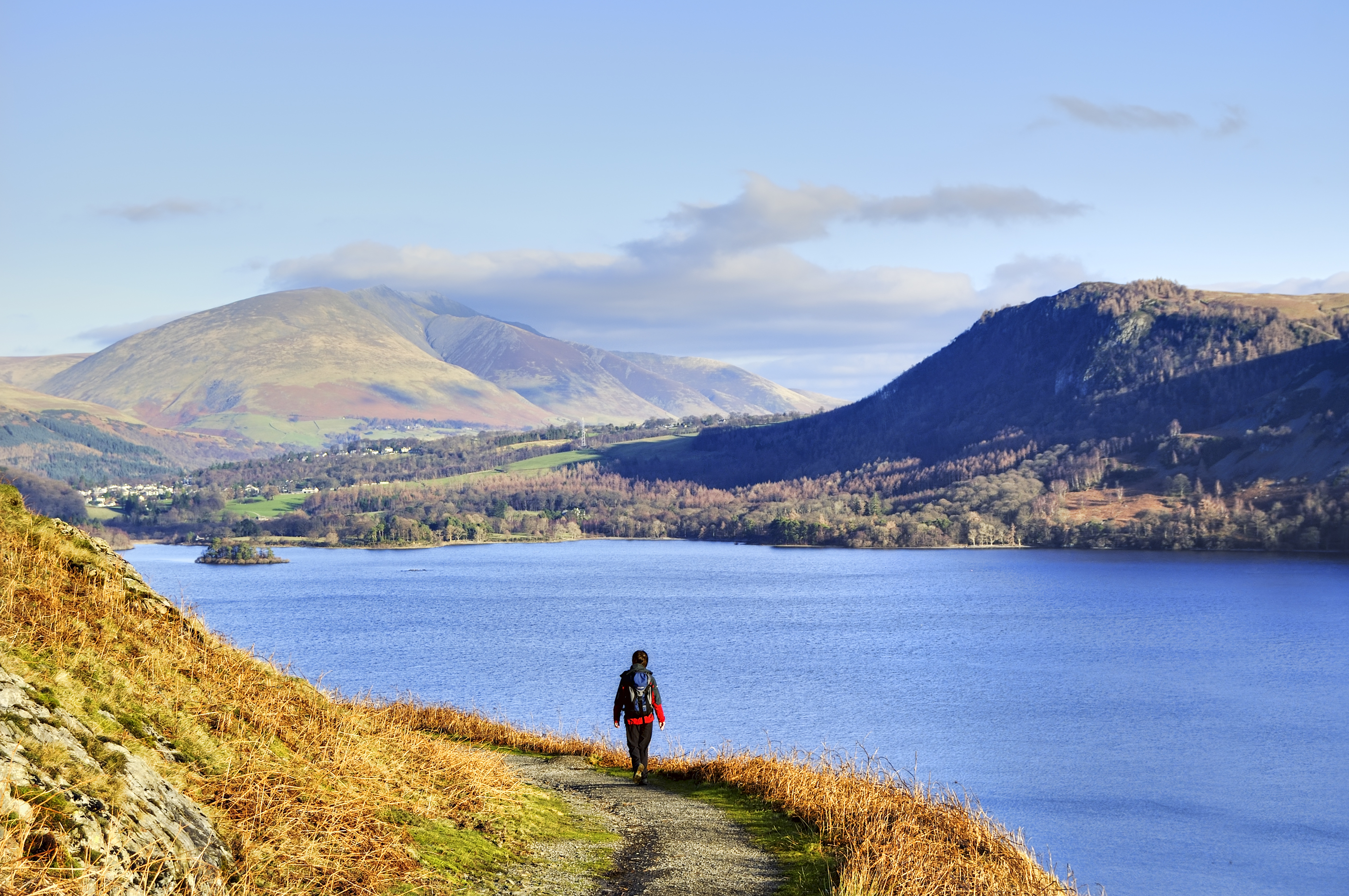 A Female hiker with Derwent Water in the background SS
