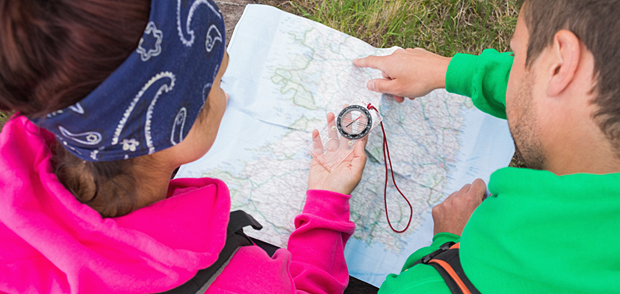 Map reading with a compass