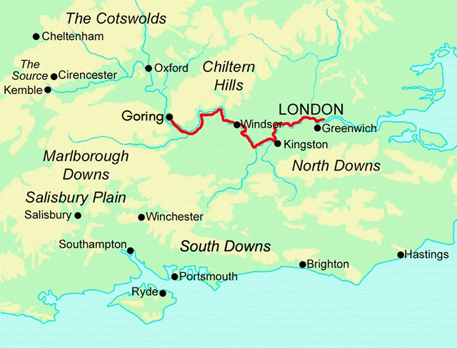 Thames Path - East Section map
