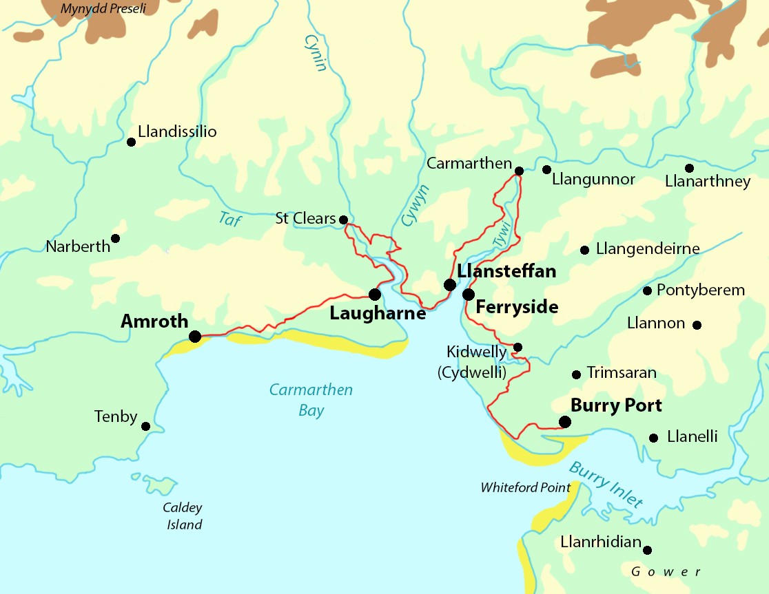 Carmarthenshire Coast Path map