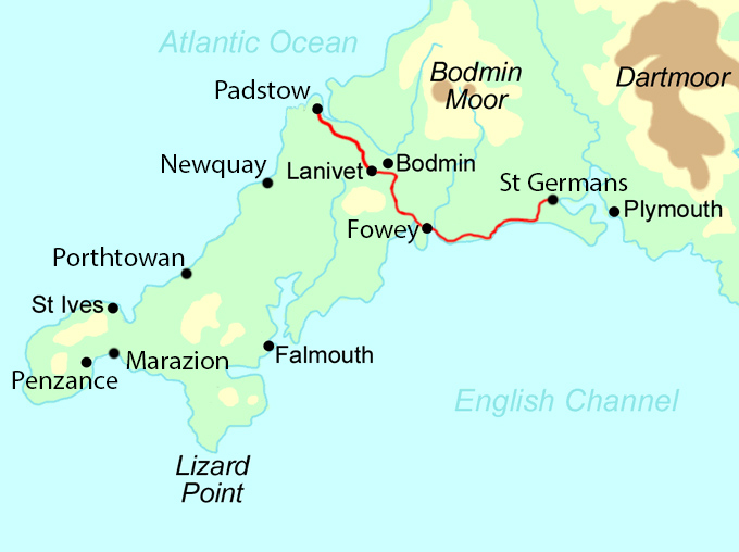 A Cornish Celtic Way - East Section map