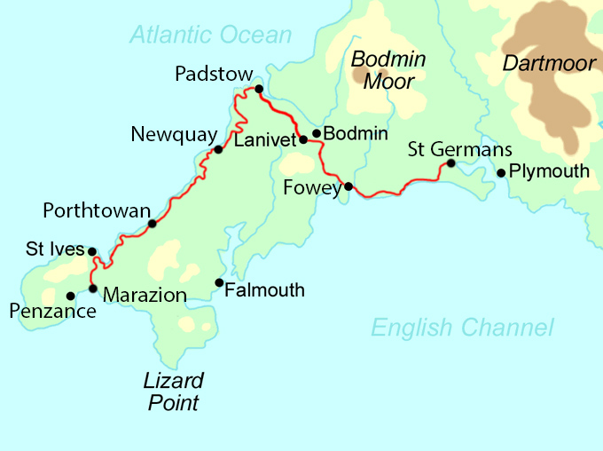A Cornish Celtic Way map