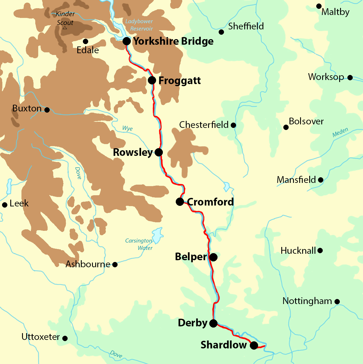 Derwent Valley Heritage Way map