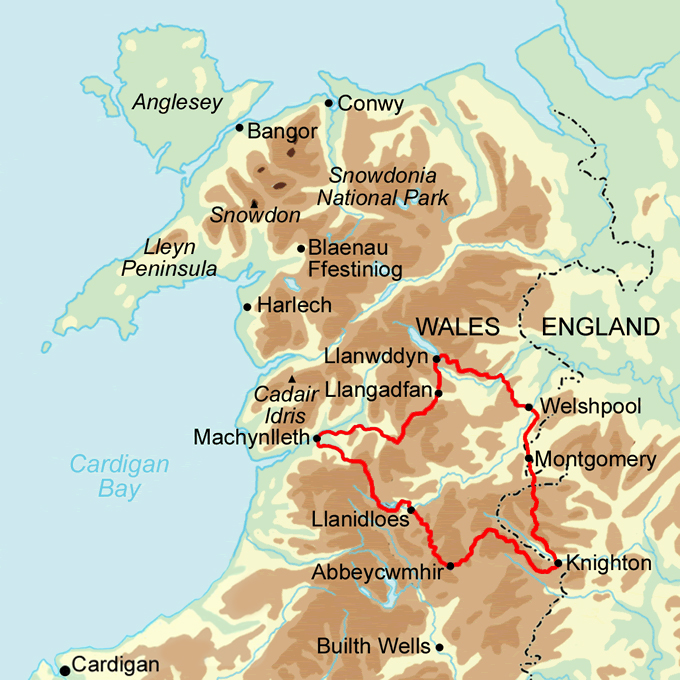 Glyndwr's Way and Offa's Dyke Link Path map