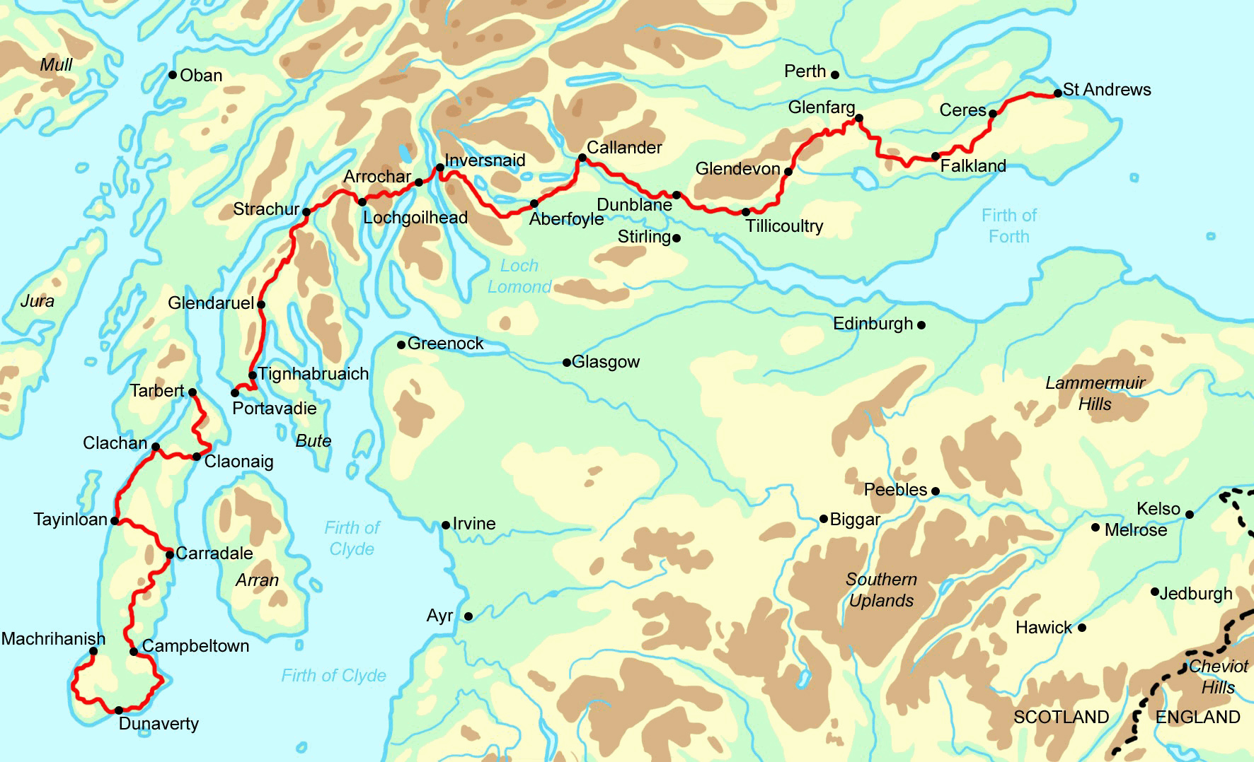 Campbeltown Scotland Map.Greater Scottish Coast To Coast In 16 22 Days Contours Walking