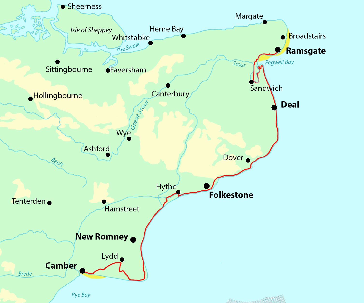 Kent Coast Path in 4-8 Days — Contours Walking Holidays on fraser valley regional district map, derbyshire map, norte map, hertfordshire map, sussex map, cornwall map, london map, scotland map, mercia map, khan map, isle of wight map, dorsetshire map, cleveland park map, maidstone map, flevoland map, wychwood map, united kingdom map, wales map, surrey map, hampshire map,