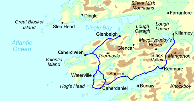 Kerry Way Highlights map