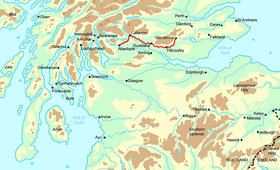 Mary Queen of Scots Way Highlights map