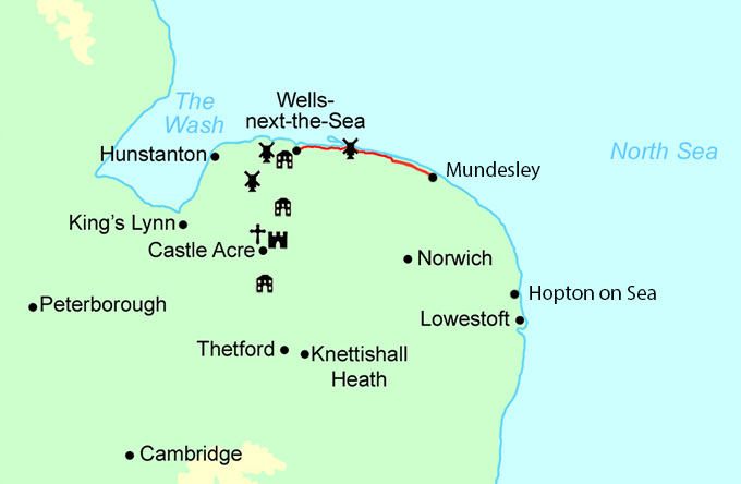 Norfolk Coast Path Highlights map