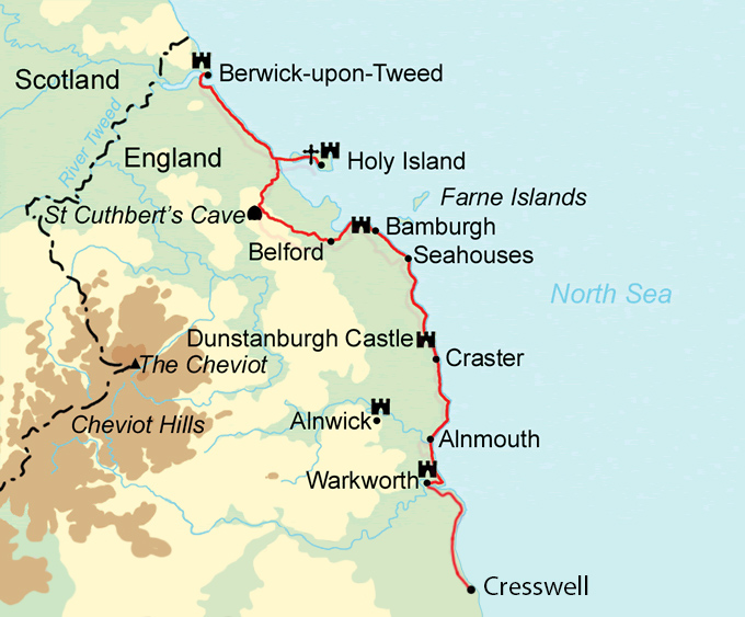 Northumberland Coast Map Northumberland Coast Path in 5 10 Days — Contours Walking Holidays