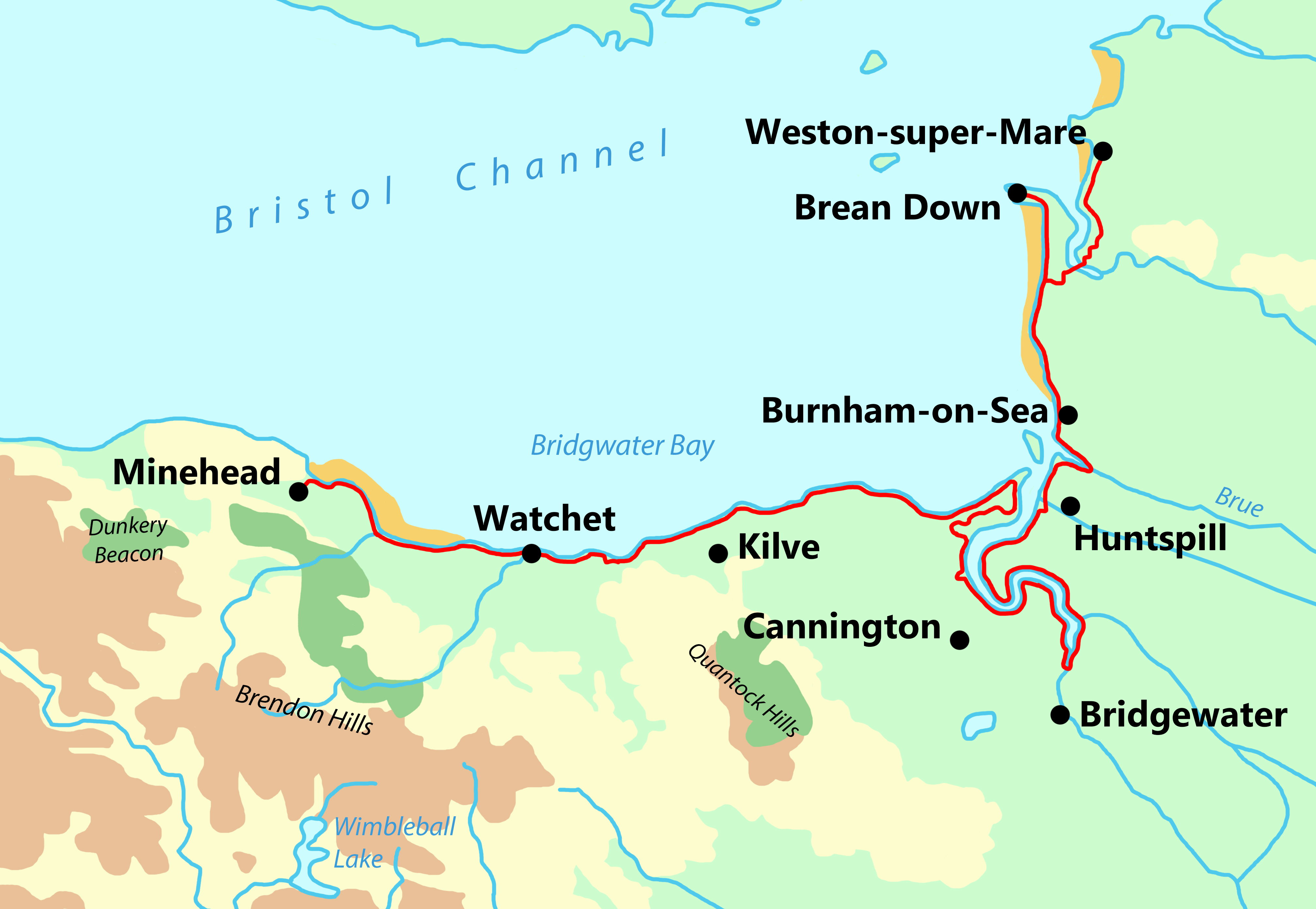 Somerset Coast Path map