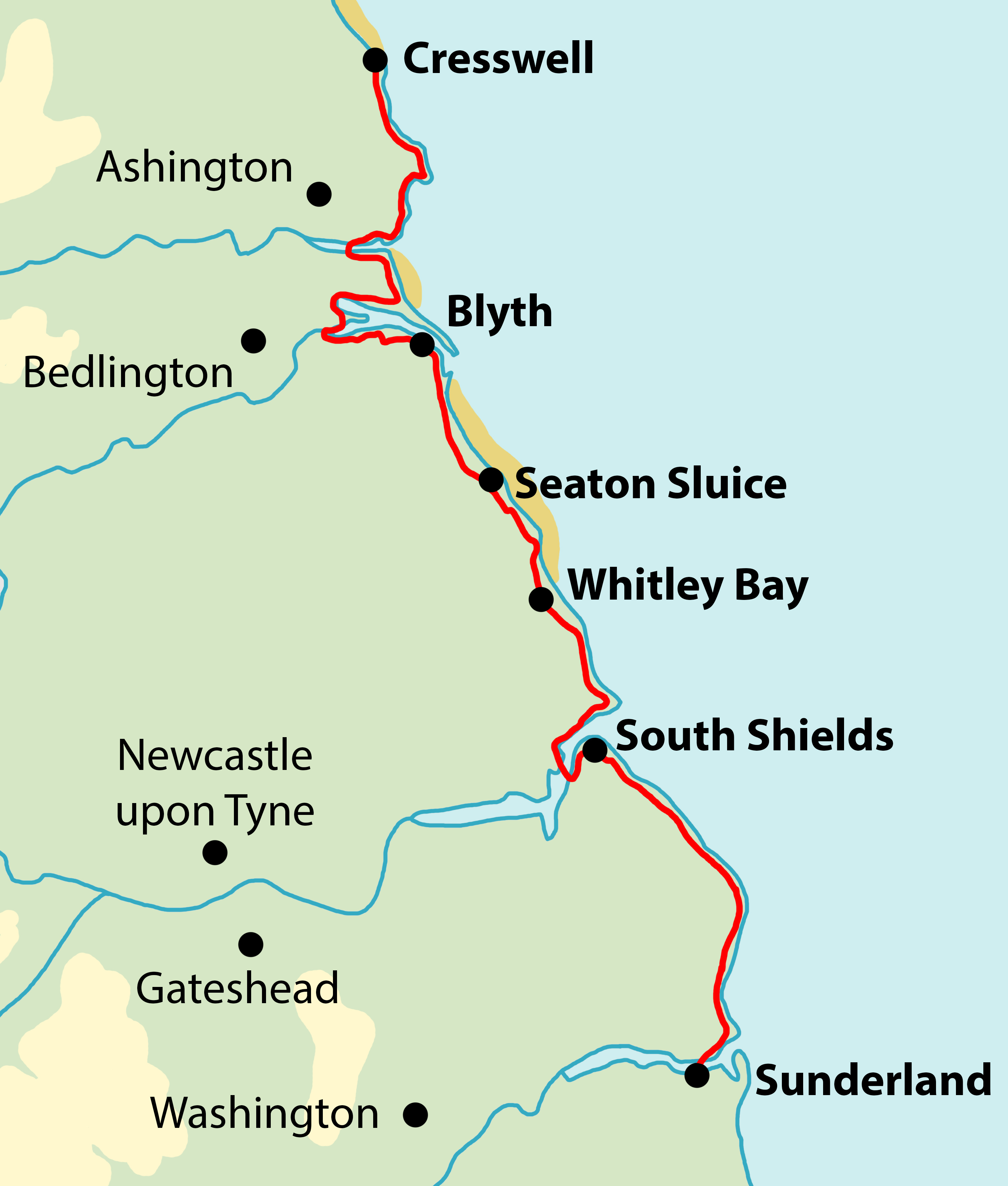 South Northumberland Coast map