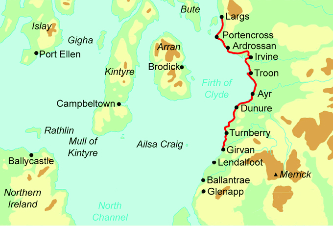 Ayrshire Coast Path map
