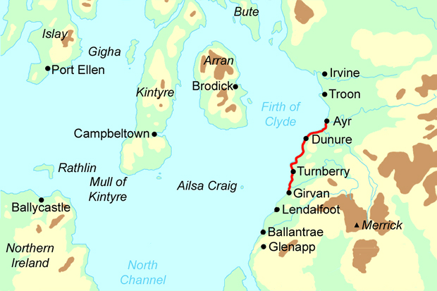 Ayrshire Coast Path - South section map