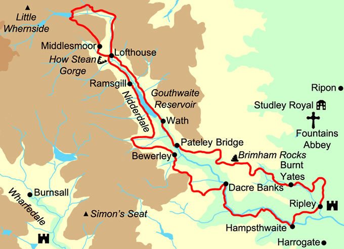 Nidderdale Way Map