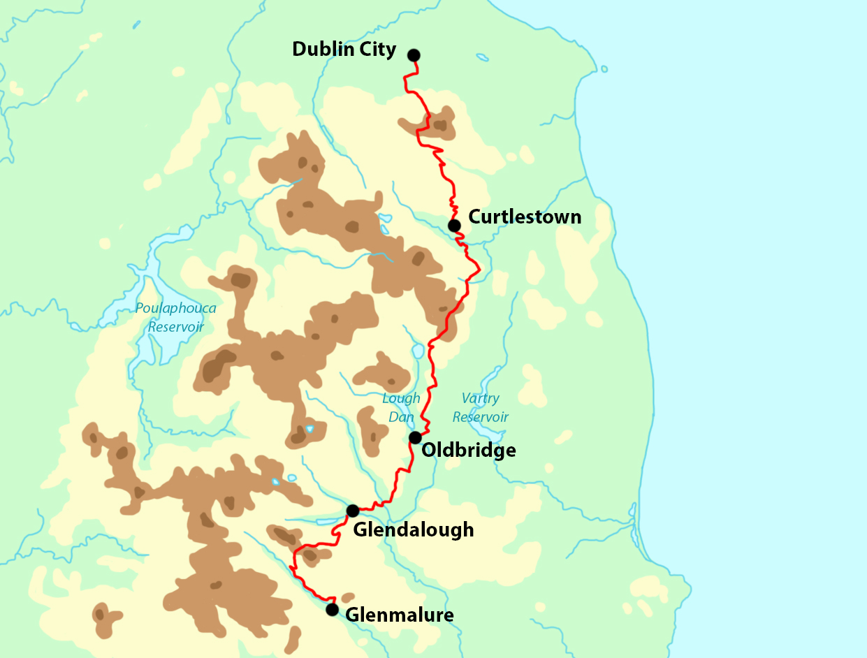Wicklow Way Highlights map